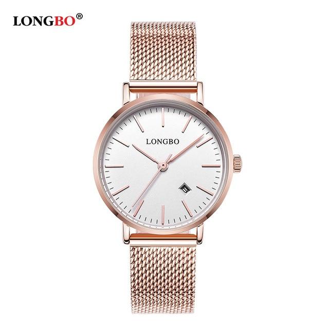 LONGBO Luxury Couple Wristwatches Steel Mesh Belt Gold Lovers Watches Fashion Quartz Watch Waterproof Calendar Relogio Feminino