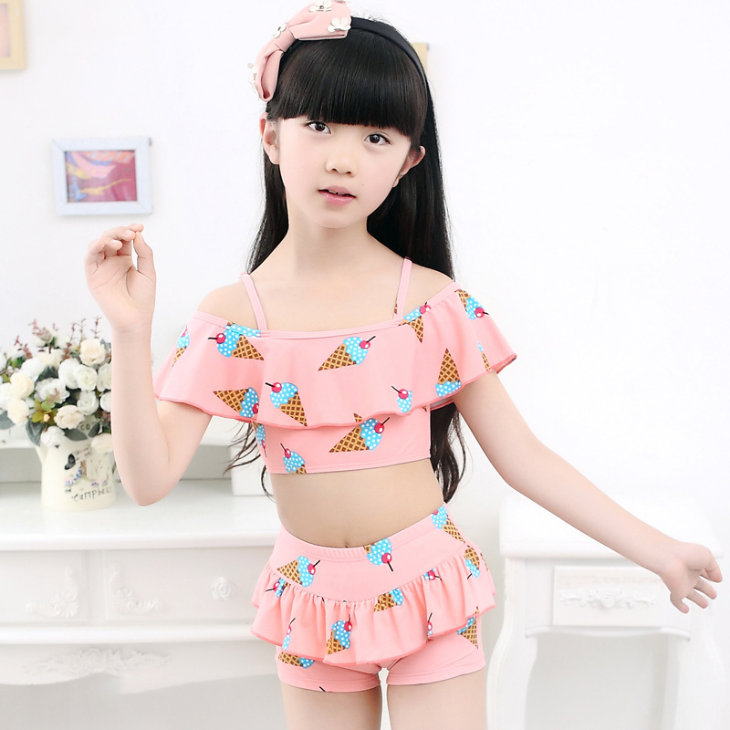 Maggies Walker Girls Swimsuit Split Offshoulder Cute Ice-cream Print Two Pieces Kids Swimwear Beach Wear