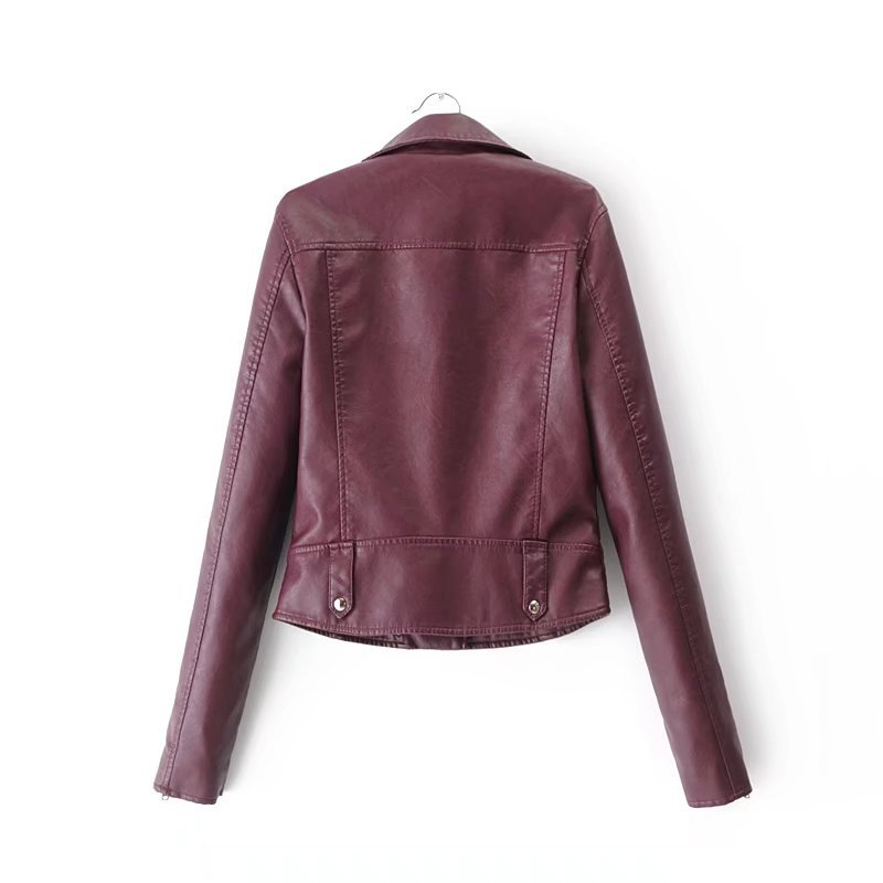Leather Clothing Women's 2018 Spring New Rivet Leather Jacket Slim Thin Short Paragraph Pu Leather Coat Women's Jacket S-XL 1
