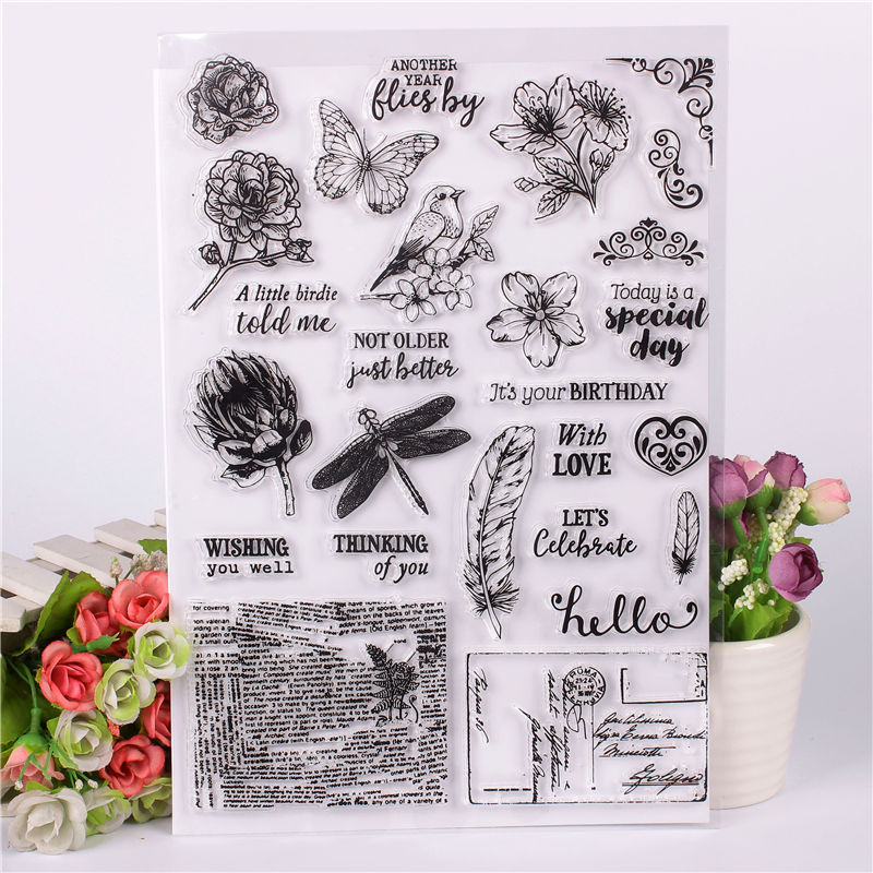 Rubber Silicone Clear Stamps for Scrapbooking Tampons Transparents Seal Background Stamp Card Making Diy Text stempel flower C цена и фото