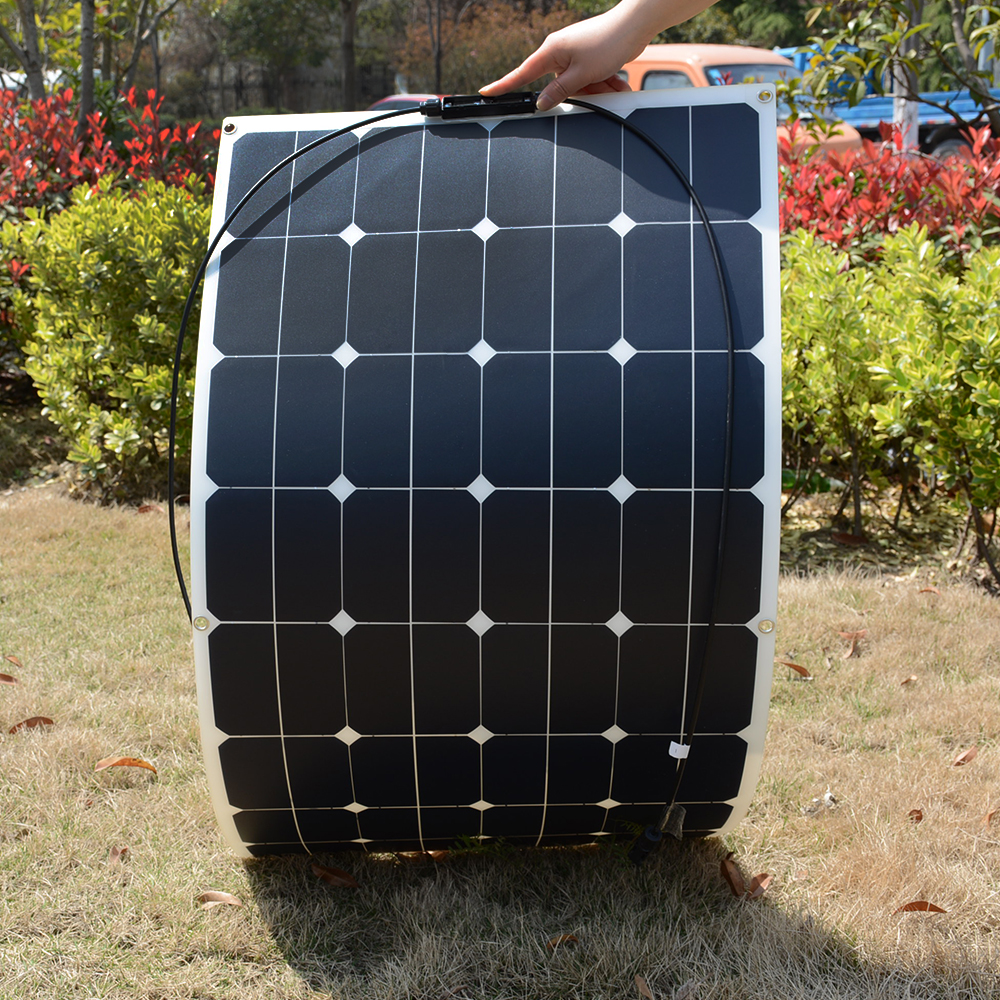 Flexible 18V 100W Solar Panel Module 2/1 Sunpower Solar Cells 100w Modules for RV Roof Boat Charger