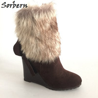 Sorbern Brown Ankle Boots For Women Winter Shoes Wedge High Heels Custom Colors Size 33 46 Real Photos 2017 Winter Wedge Shoes