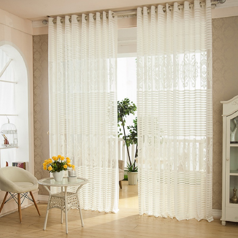 Window Curtains For Living Room Drawing Bedroom Embroidered Curtain Modern Drapes Solid Loops Cortinas Translucidus 1pcs