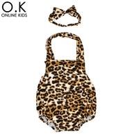 Baby Leopard Rompers Headband Infant Costume 2017 Summer Girl Halter One Piece Romper Elastic Headwear Newborn