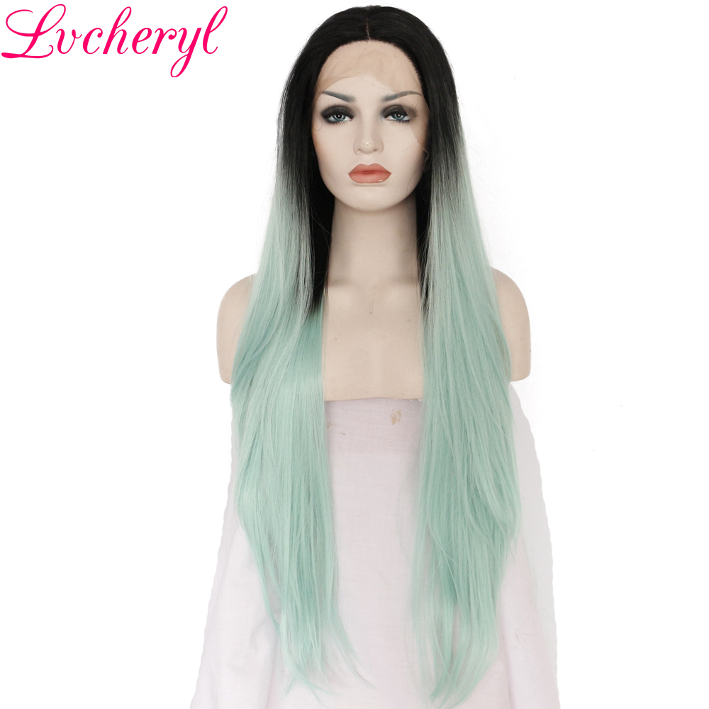 Lvcheryl 2 Tone Ombre Black To Green Long Straight Hand Tied Heat Resistant Hair Glueless Synthetic Lace Front Wigs for Women
