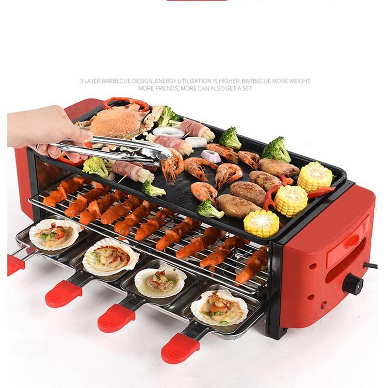 220V 3 Layers Electric Barbecue Grill Multifunction Big Capacity Electric Contact Grill BBQ Meat Roast Machine EU/AU/UK/US earth star high quality 50 500 degree roast barbecue bbq smoker grill thermometer temp gauge new arrival 2