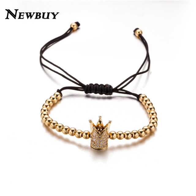 NEWBUY Luxury Micro CZ Paved Crown Bracelet Rose GoldGoldSilver