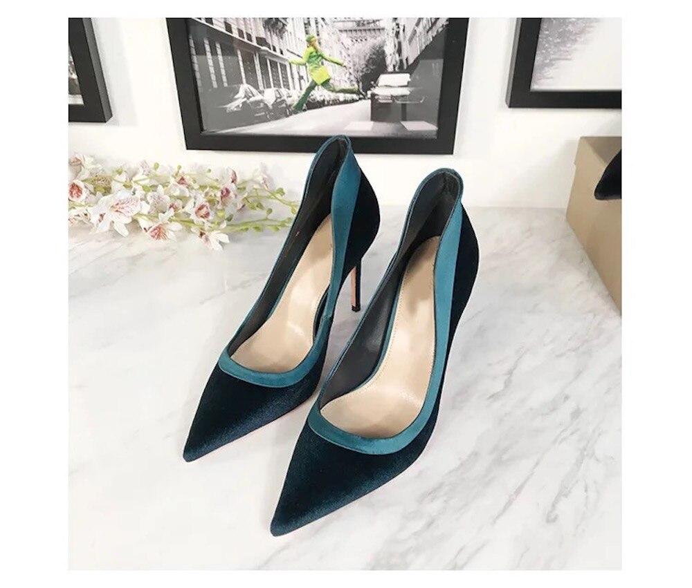 أحذية نسائية 2019 جديد الأزياء البقر المدبوغ جلد طبيعي مضخات عالية الكعب حزب اللباس السيدات مضخات وأشار اصبع القدم الانزلاق على أحذية-في أحذية نسائية من أحذية على  مجموعة 1
