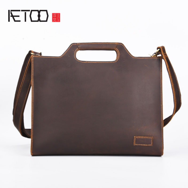 AETOO The new mad horse leather men bag retro handbags men's leather shoulder Messenger business cowhide briefcase computer bag aetoo europe and the united states fashion new men s leather briefcase casual business mad horse leather handbags shoulder