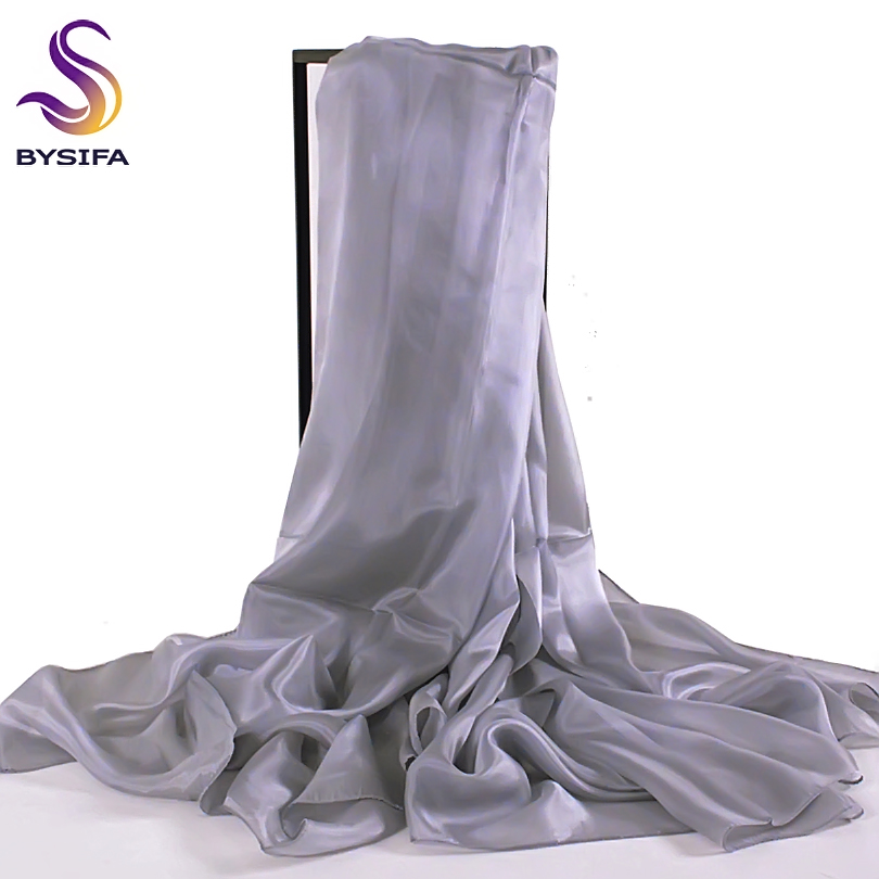 [BYSIFA] Damer Metal Grey Silk Scarf Shawl 180 * 110cm Oversize Design Female Scarves Wraps Summer Sunshade Shawls Black Pink