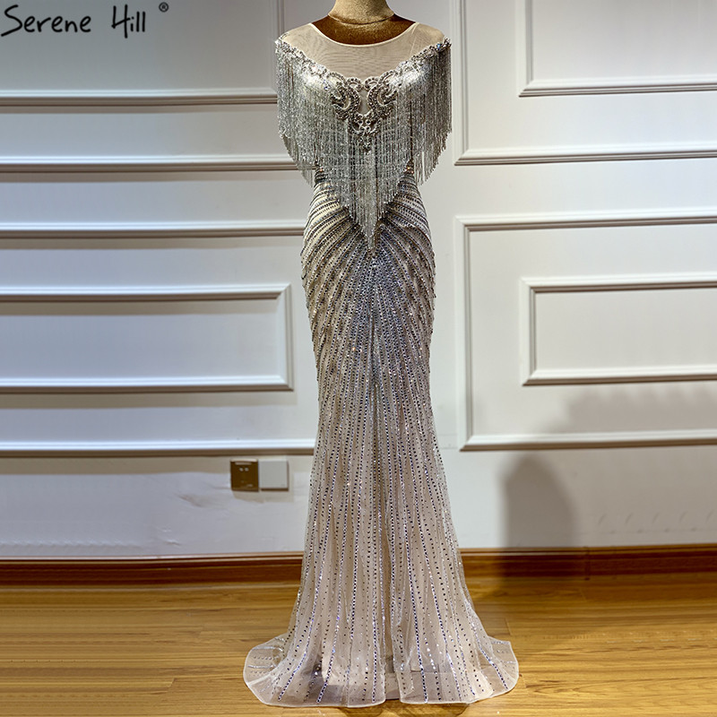 Dubai luxo beading tassel sem mangas vestidos de noite 2019 mais recente design prata sereia vestidos de noite sereno colina la60847
