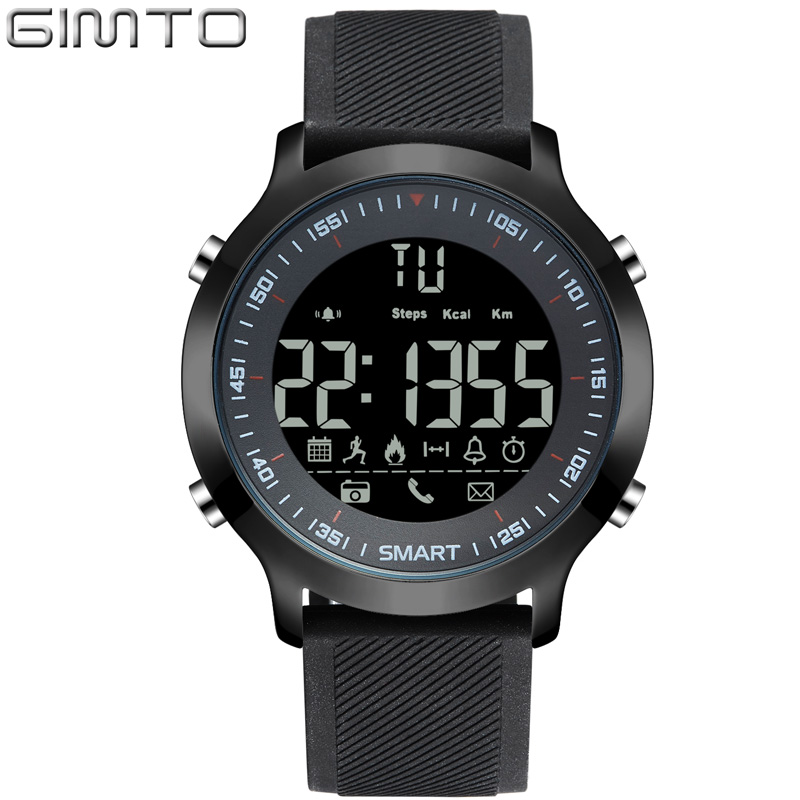 GIMTO Brand Men Sport Watch Digital LED Stopwatch Waterproof Clock Running Military Shock Watches Pedometer Smartwatch Relogios plus size skew collar sequined trim overlay t shirt