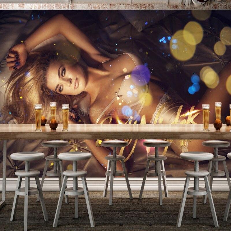 Custom European and American nightclub DJ beautiful backdrop 3D wallpaper KTV bars sexy girl 3D wallpaper cool frock large mural
