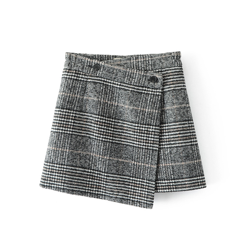 aa5318416e Qooth Spring 2019 Skirts Womens Casual Lattice High Waist Plaid Skirt  Asymmetrical Woolen Skirt Gray Ladies New Clothing QH1718-in Skirts from  Women's ...