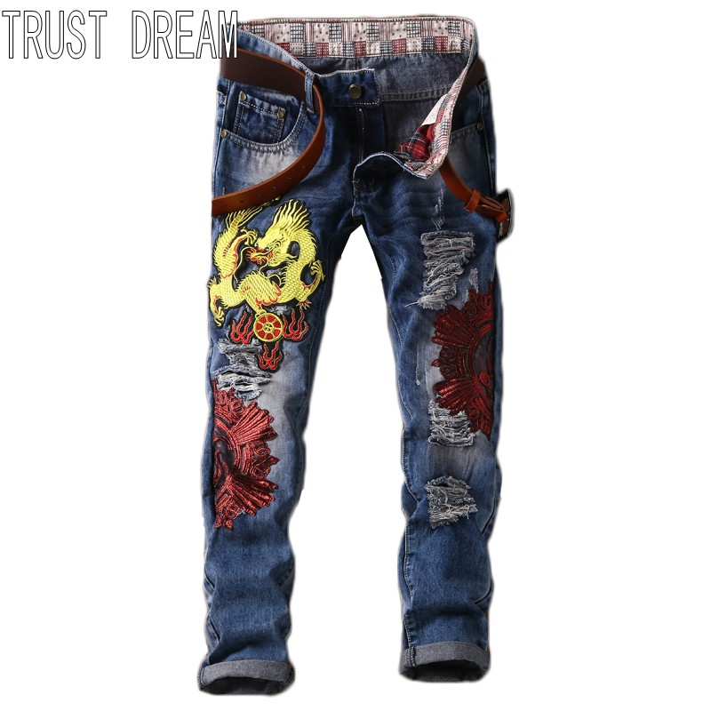 TRUST DREAM Europeans Designed Men Embroidery Dragon Ripped Hole Jean Casual Distressed Slim Man Fashion Persoanal Jeans l jean camp trust