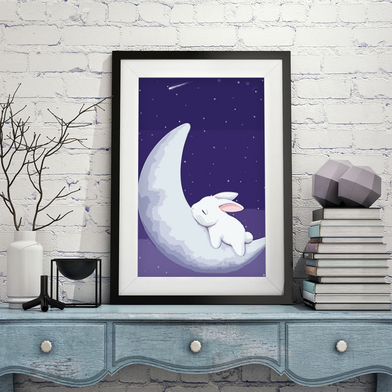 Oil Painting Rabbit And Moon DIY Painting By Numbers Gift Coloring By Numbers Picture On Wall Acrylic Children 39 s Drawing in Paint By Number from Home amp Garden