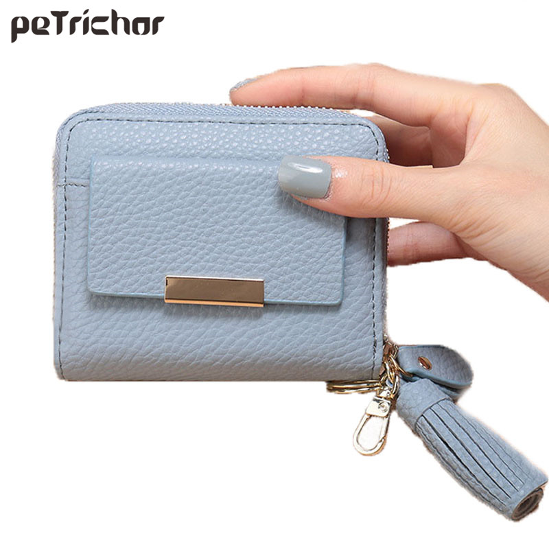 2017 New Design Women Tassel Short Wallets PU Leather Zipper Money Purse Card Ho