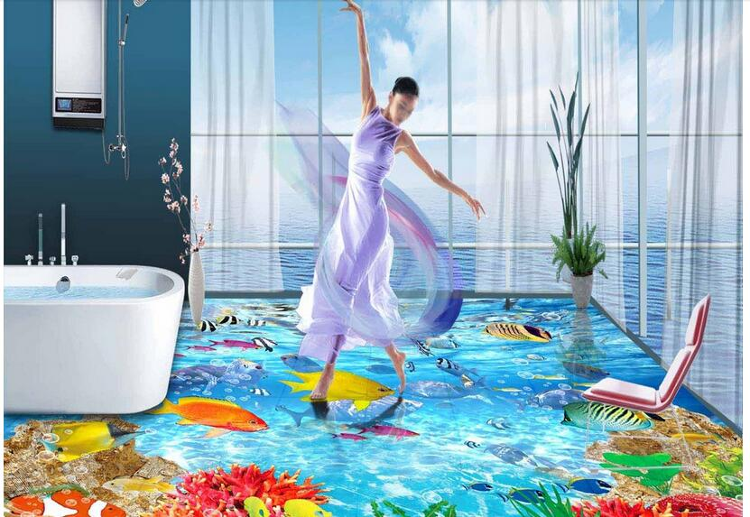 3 d flooring bedroom custom mural Waterproof floor wall paper sticker Reef fish in the sea world photo wallpaper for walls 3d the woman in the photo
