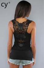 High quality black fashion women's  lace wear sleeveless Lace Small Vest  T-shirt camisole tank