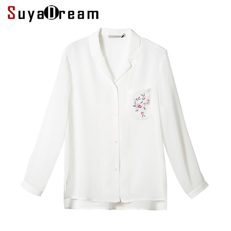 Woman Silk   Blouse   100%Real silk Long sleeved White Button   Blouses     shirt   Single pocket Blusas femininas 2018 NEW Spring