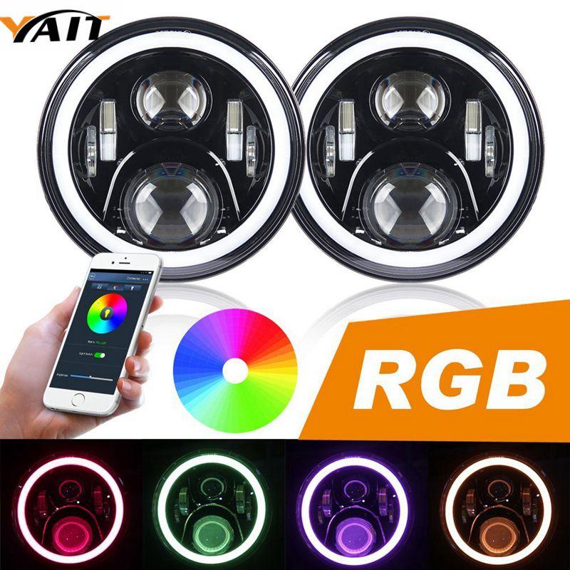 В RGB гало 7 дюймов светодиодные фары для джип Вранглер Подключи и играй 7-дюймовый LED лампы фары с функцией Bluetooth