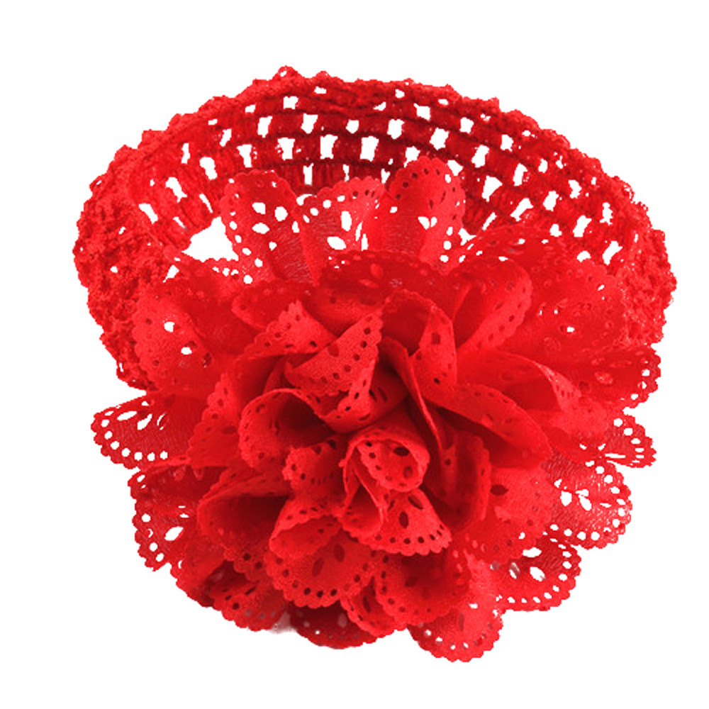 High Quality 10 Colors Baby Girls Lace Flower Hairband Kids Baby Elastic Headband Dress Up Head band