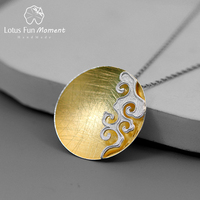 Lotus Fun Moment Real 925 Sterling Silver Fine Jewelry Creative Peace Cloud Round Pendant without Necklace Acessorios for Women