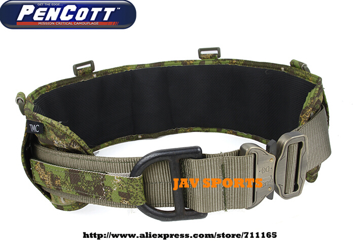 TMC Laser-Cut PALS Padded Military Tactical MOLLE Battle Belt Rigger Belt PenCott GreenZone+Free shipping(SKU12050788) tmc vc style brokos belt genuine multicam padded molle battle belt free shipping sku12050743