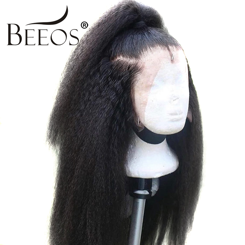 Beeos 13*6 Deep Part Kinky Straight Lace Front Human Hair Wigs Brazilian Remy Hair 150 Density Bleached Knots Natural Color Wig