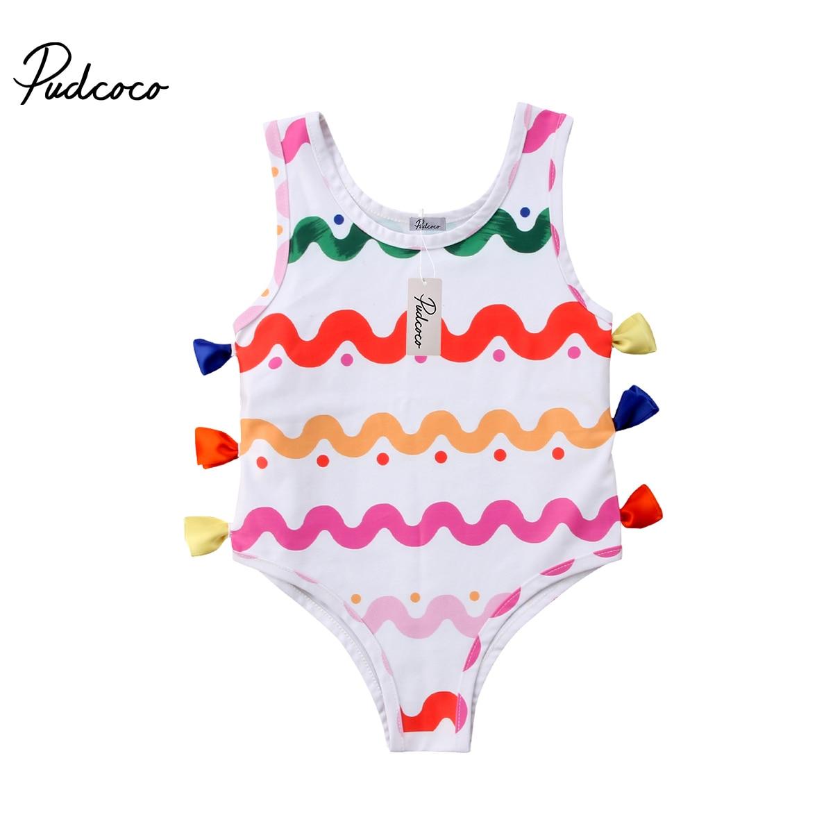 3d6c78add0 2018 Brand New Toddler Infant Newborn Kid Baby Girl Swimsuit Romper Bikini  Swimwear Bathing Suit Colorful Striped Beachwear 0-3T