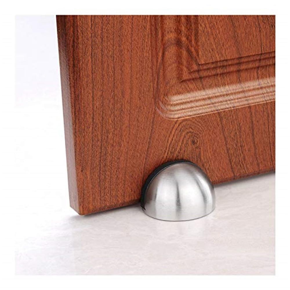 1pc 45mm Floor-mounted Wood Door Stops Zinc Alloy Half Moon Stopper