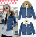 Women winter jacket ladies denim cotton outwear lamb cashmere lining padded removable coats real fur collar denim clothes 9828