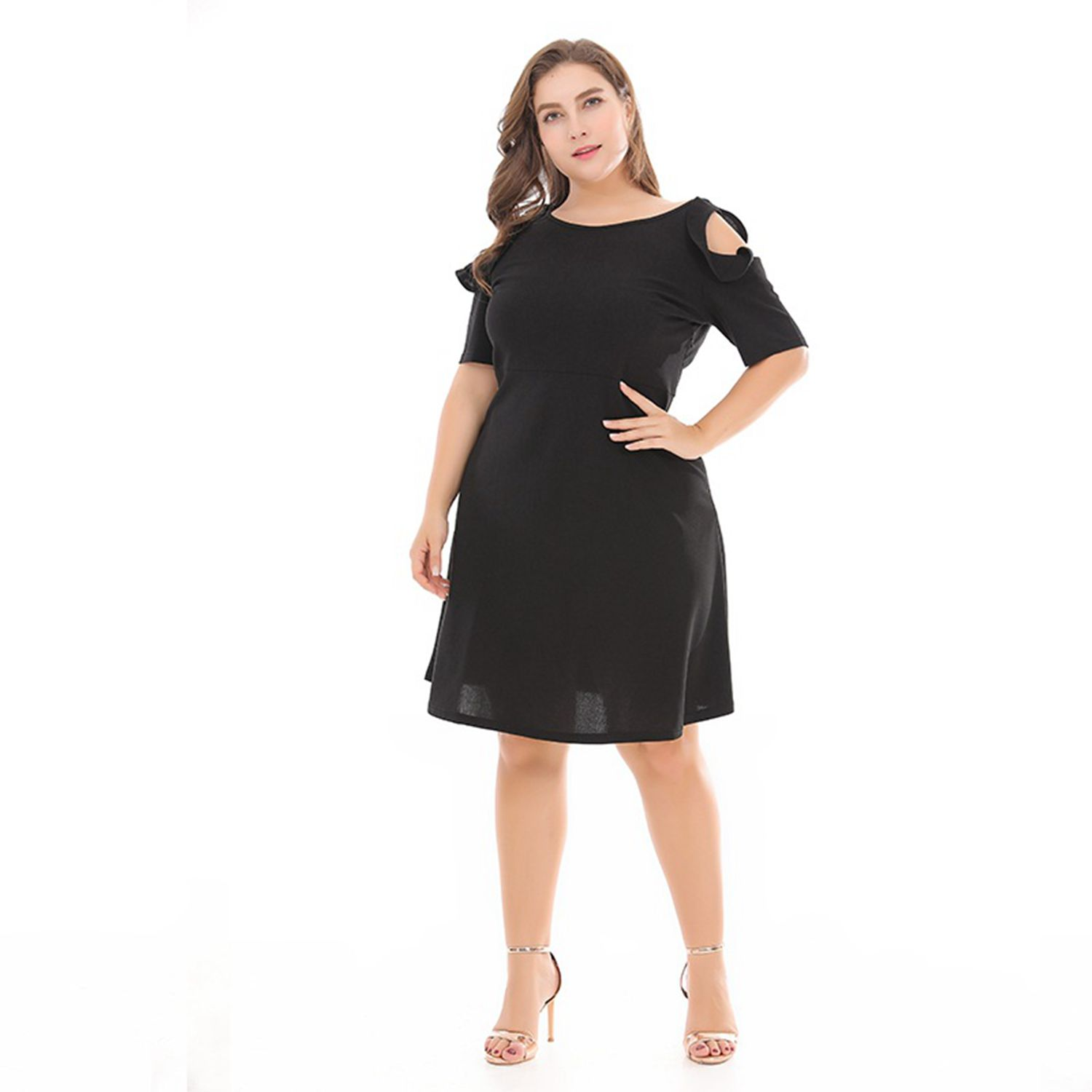 Summer new large size dress women show slim strapless hollow knit