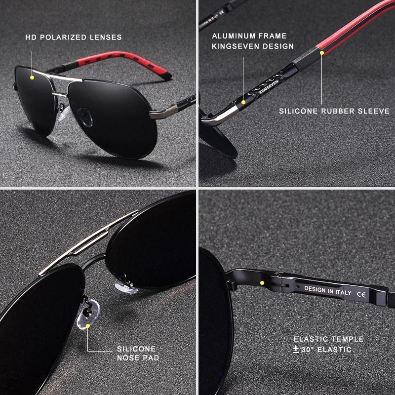 7-Day Delivery KINGSEVEN Vintage Aluminum Polarized Sunglasses Brand Sun glasses Coating Lens Driving EyewearFor Men/Wome N725 3