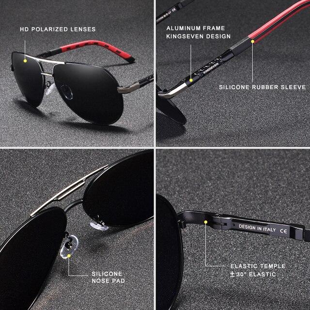 KINGSEVEN 남자 빈티지 알루미늄 편광 된 선글라스 클래식 브랜드 태양 안경 코팅 렌즈 남자/여자에 대 한 안경 운전
