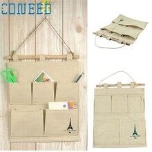 Folding Cotton Storage Bag holder 5 pocket wall hanging bags storage fashion pastoral s Levert Dropship