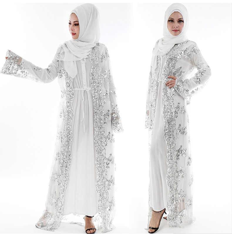 Популярный Стиль, роскошное мусульманское женское платье с золотыми блестками, кардиган, абайя, кружевное кимоно с вышивкой, туника для улицы, Jubah размера плюс, Рамадан