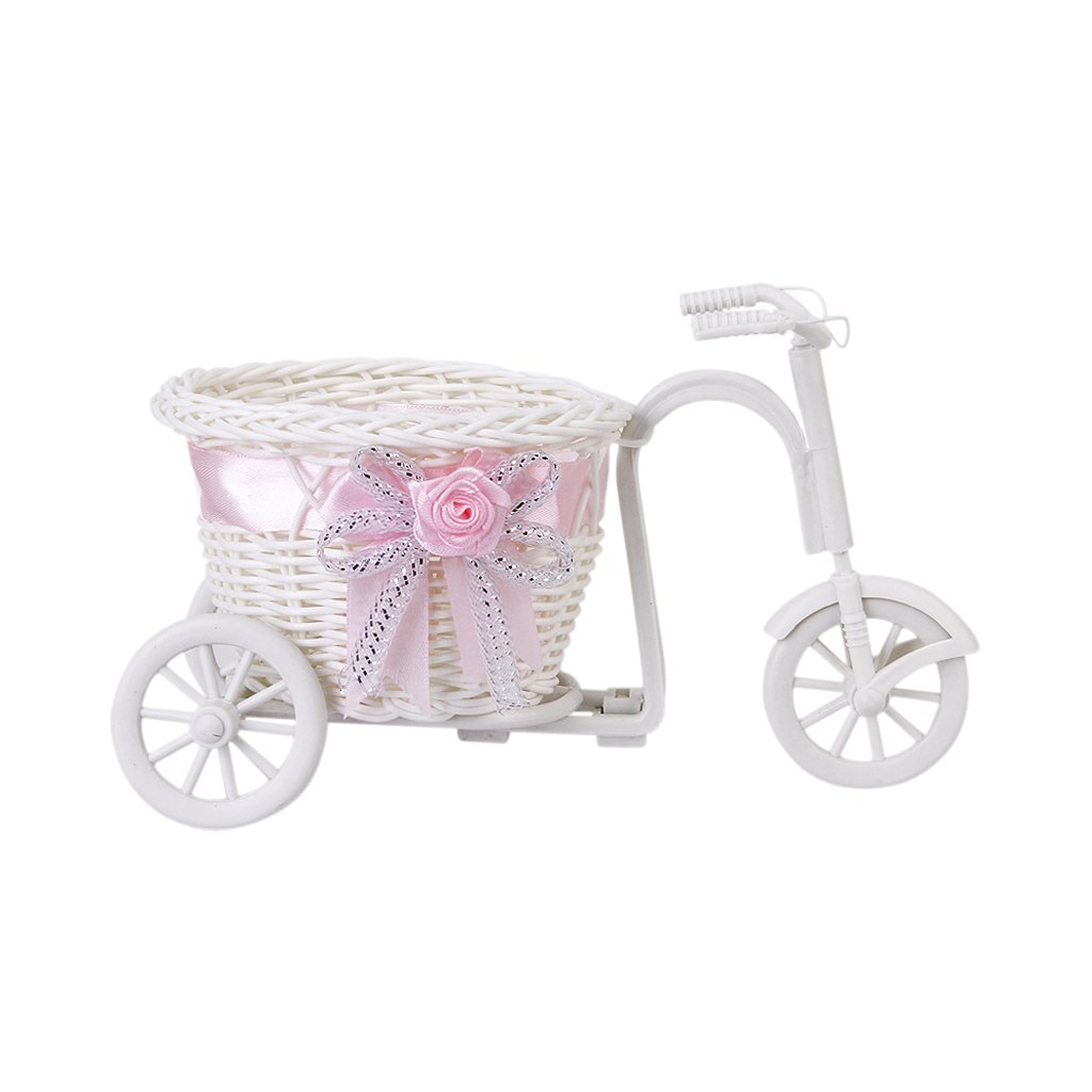 2016 Hot Sale New Plastic White Tricycle Bike Design Flower Basket Container For Flower Plant Home Weddding Decoration
