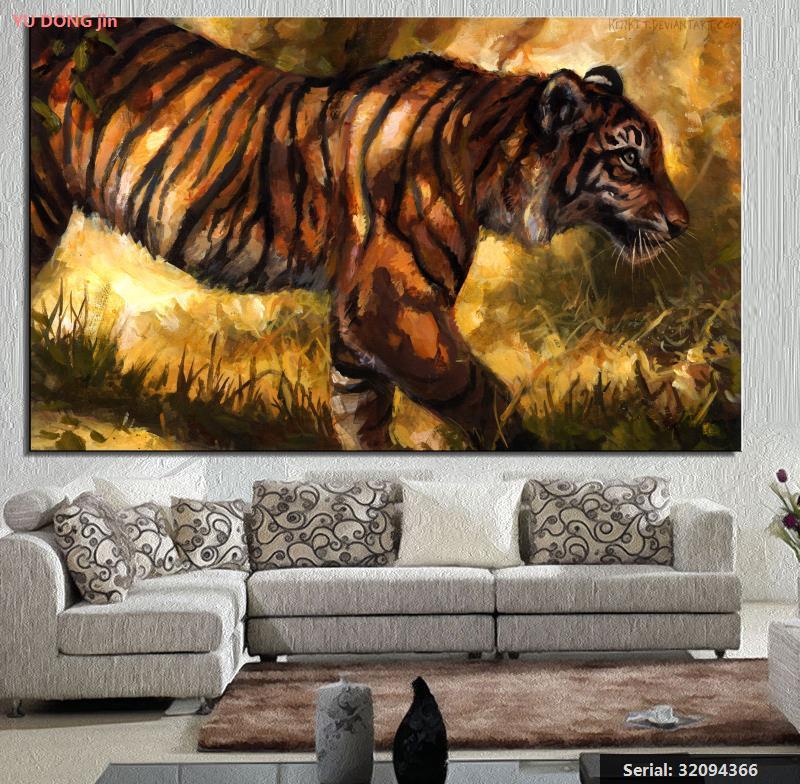 nºyu dong jin grandes felinos tigres pintura arte animal pintura a