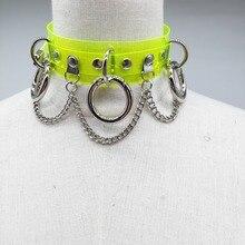 Women Fashion punk Choker Necklace handmade neon green neon pink three O Chain Necklace Sexy Harajuku collar belt
