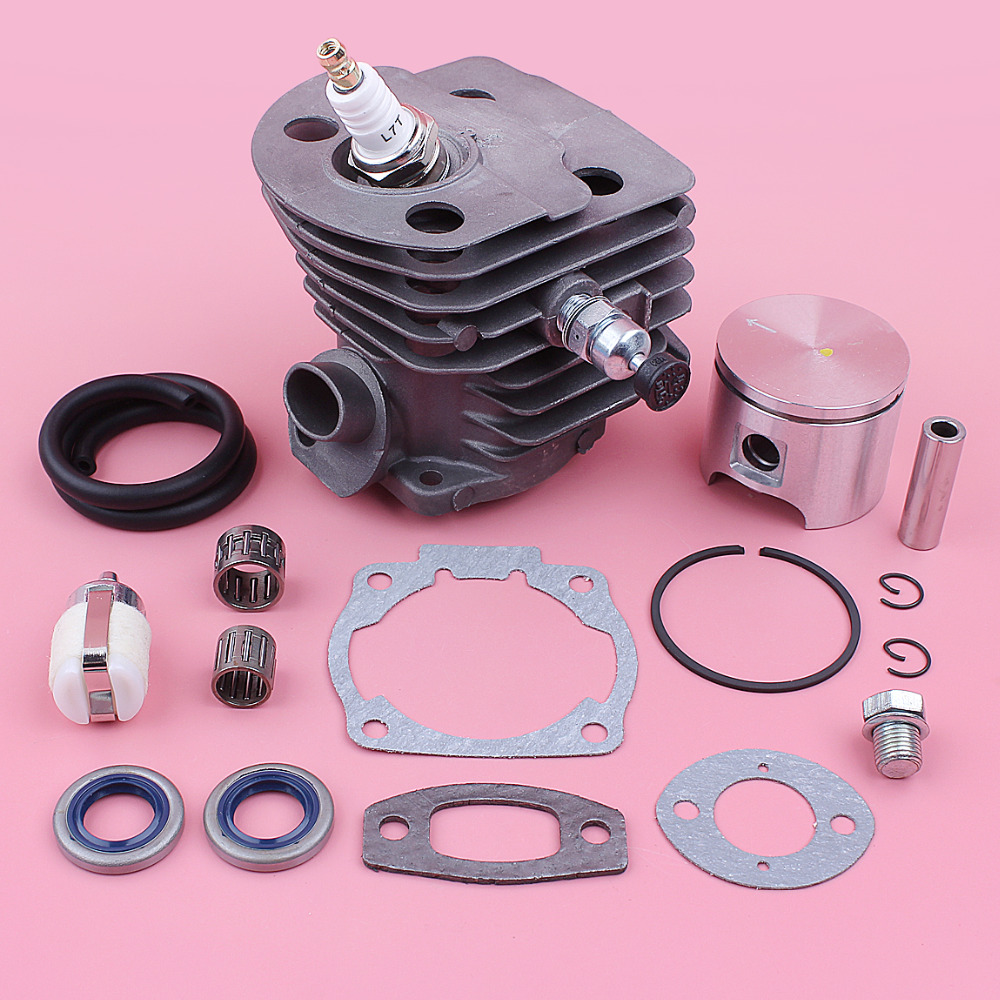 46mm Cylinder Piston Kit For Husqvarna 55 51 Fuel Filter Line Decompression Valve Gasket Bearing Chainsaw Replace Tool Part