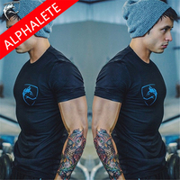 Alphalete Gym Compression Tights T Shirts Men Short Sleeve Summer Cotton Slim Men Tops Tees Shirts