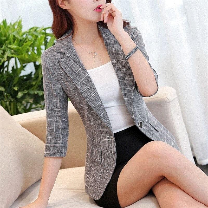 J61665 Suit Women Jacket Ladies Seven Sleeve Work Wear Plus Size Female Outerwear