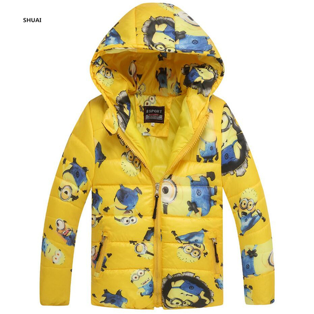 New Minions Baby Girls Boys Jacket Kids Hoodies Winter Warm thick Coat Children Cartoon Lovely Outerwear
