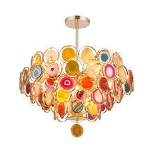 JAXLONG Modern LED Pendant Lights Colored Agate Living Room Bedroom  Restaurant Bar