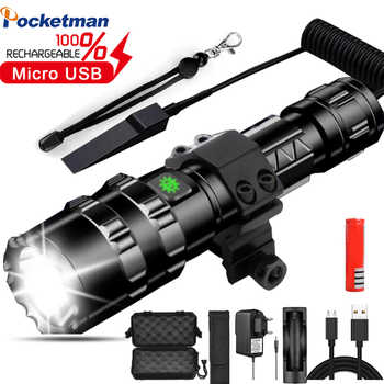 High lumens LED Tactical Flashlight Bright L2 USB Rechargeable Waterproof Scout light Torch Hunting light use 18650 battery - Category 🛒 Lights & Lighting
