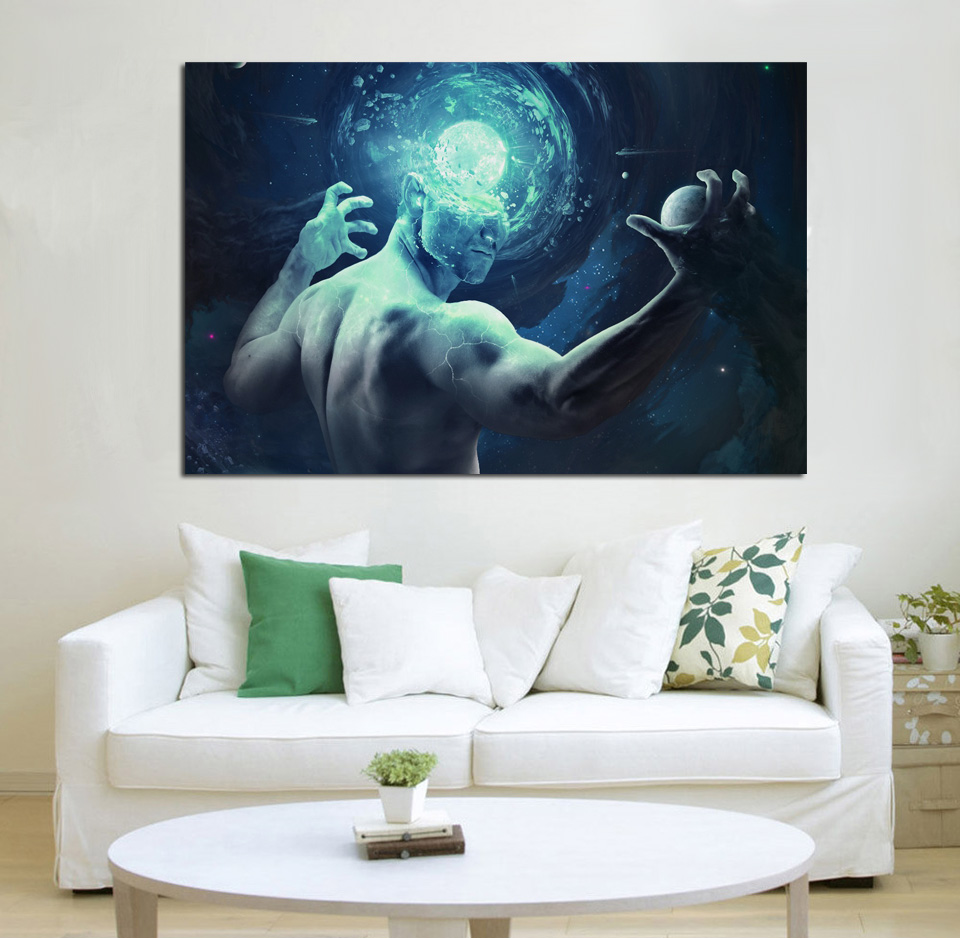 human galaxy planets space fantasy living room home wall ...