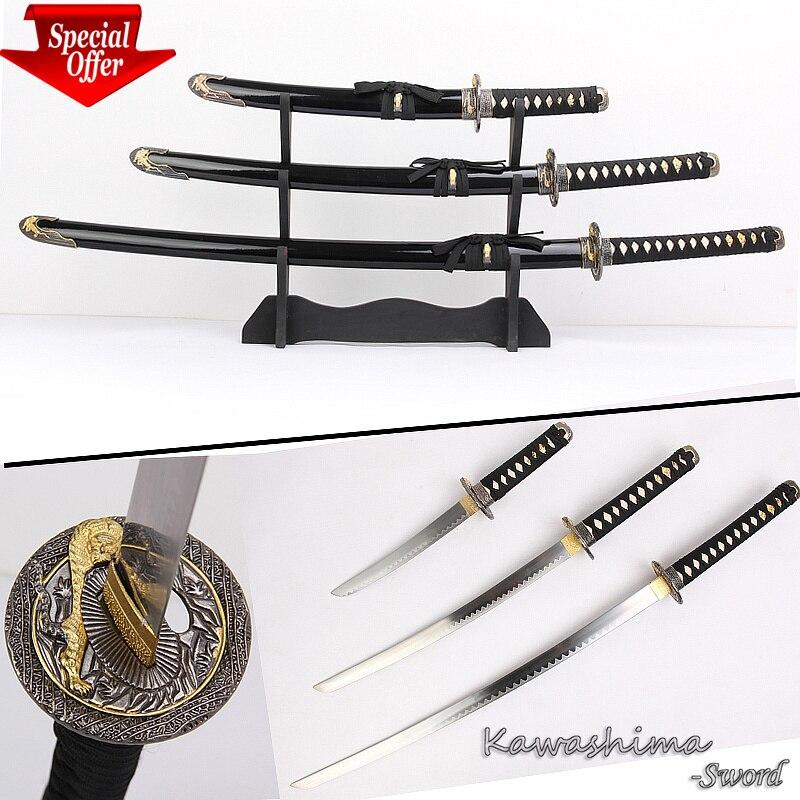 acd7c03428bab التقليدية اليابانية السامرائي السيوف 3 PCS مجموعة مع حامل خشبي الكربون  الصلب النمر تصميم أسود اللون عيد الميلاد الديكور