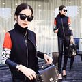 2016 Nova Moda Feminina Primavera Outono jaquetas basball Jaqueta espaço algodão jaqueta Famale casaco longo Da luva Lady Tops D735