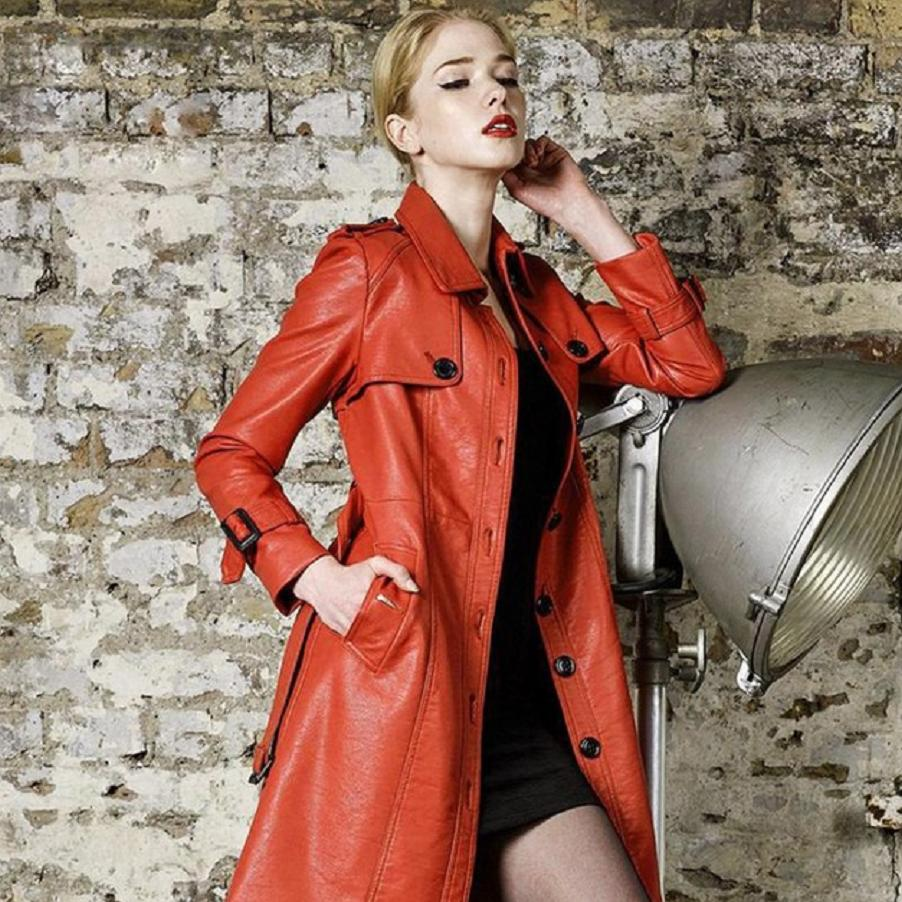 Autumn Winter New High quality PU   Leather   Windbreakers Jacket Women's Fashion Slim Long Trench Coat Elegant Female Outwear L1224